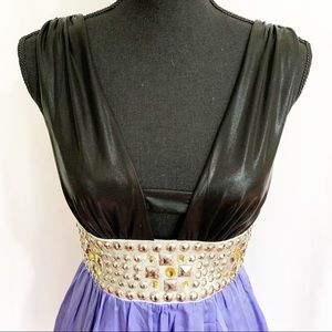 bebe mini dress with rhinestone waist, EUC